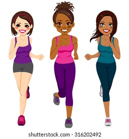 Beautiful diverse young runner women of different ethnicity