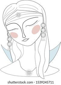 Beautiful divine girl with ornate crown. Bohemian goddess. Hand drawn beautiful contour illustration.