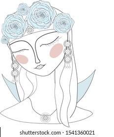 Beautiful divine girl with ornate flower crown. Bohemian goddess. Hand drawn beautiful contour illustration.