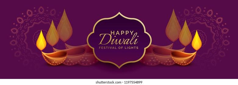 beautiful diwali banner with diya decoration