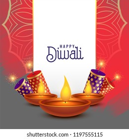 beautiful diwali card design with crackers