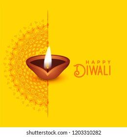 beautiful diwali greeting card design with mandala art and diya