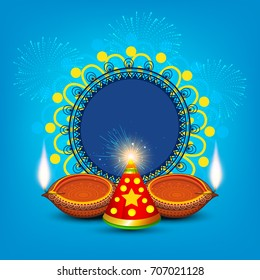 A beautiful Diwali Greeting card design with line art decorated Illuminated floral diya and fire cracker on colorful floral frame background of Indian Hindu community festival Diwali celebration.