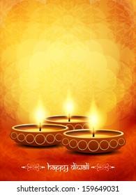 beautiful diwali lamps on elegant orange color floral background. vector illustration