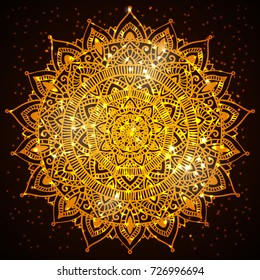 Beautiful diwali present card design. Creative and artistic mandala tattoo design on dark background with shining lights and bokeh effect. Vector EPS10 file.