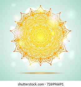 Beautiful diwali present card design.Creative and artistic mandala tattoo design on light blue background with shining lights and bokeh effect. Vector EPS10 file.