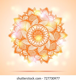 Beautiful diwali present card design.Creative and artistic mandala tattoo design on orange background with shining lights and bokeh effect. Vector EPS10 file.