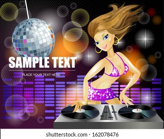 Beautiful DJ girl on decks on the party. Template for party