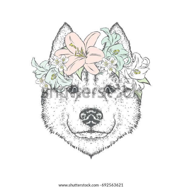 A beautiful dog in a flower wreath. Cute puppy. Vector illustration for a postcard or a poster, print for clothes. Husky or wolf.