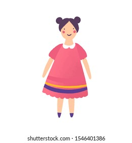 Beautiful doll in red dress flat vector illustration. Girlish toy isolated on white background. Smiling child plaything cartoon character. Handmade ragdoll for little children. Childhood accessory.