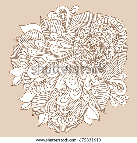 Beautiful Doodle Art Floral Composition Henna Stock Vector Royalty