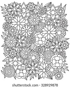Beautiful doodle art flowers. Zentangle floral pattern. Hand drawn herbal design elements. Black and white pattern.