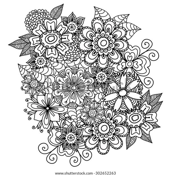 Beautiful Doodle Art Flowers Zentangle Floral Stock Vector (Royalty ...