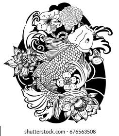 Beautiful doodle art Koi carp tattoo design,Black and white koi fish and flower