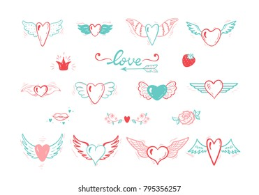 Beautiful Doodle Heart tattoo Vector Set. Hearts with Wings for Valentines Day or Wedding greeting cards. Love. Hand drawn illustration