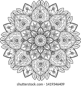 Beautiful doodle mandala black on transparent background vector