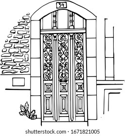 Beautiful door in the style of art Deco. Vector black and white line graphics. Isolated on a white background. Coloring book for children and adults