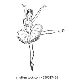 Beautiful drawing ballerina on a white background,sketch,vector.
