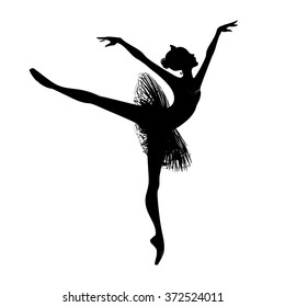 Beautiful drawing ballerina on a white background,sketch,vector. The black silhouette of a dancer.