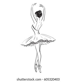 Beautiful drawing ballerina, sketch. Line dancer in pointe shoes and tutu. Stock illustration isolated on white background. Realistic  black and white ballerina from the back. Vector illustration.