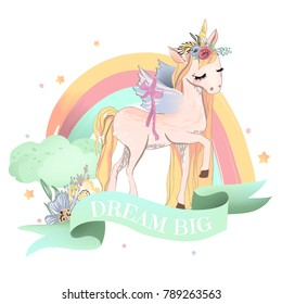 Beautiful, dreaming unicorn with floral wreath (flower bouquet) and wings. Rainbow, colorful clouds, flowers and stars. Mint colored ribbon with quote