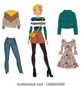 Beautiful dress up female paper doll, ready for cut out and play. Vector illustration.