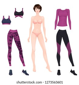 Beautiful dress up female paper doll, ready for cut out and play. Sportswear theme. Vector illustration.