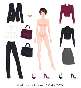 Beautiful dress up female paper doll, ready for cut out and play. Office style clothes theme. Vector illustration.