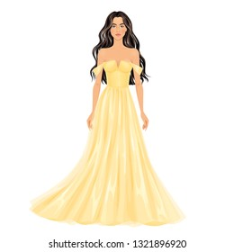 Beautiful dress up female paper doll, ready for cut out and play. Evening gowns' theme. Vector illustration.
