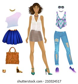 Beautiful dress up paper doll - black woman, ready for cut out and play. vector illustration.