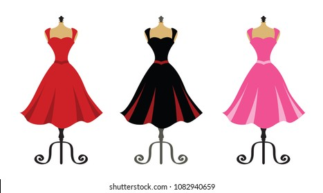 Beautiful Dresses on Mannequin Stands