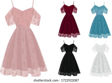 Beautiful Dresses for Parties Elegant Red, Pink, Blue, White and Black with Beautiful Leaf Embroidery Design Illustrator Vector
