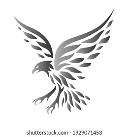 Beautiful eagle or hawk in flight tattoo vector isolated. Stretched wings of a fish hunting eagle. Tribal vintage tattoo design.