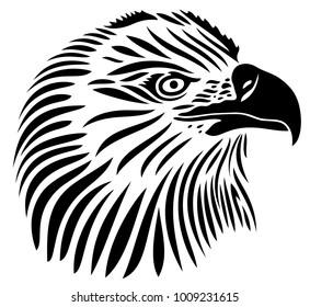 Beautiful Eagle head. Tattoo tribal style.