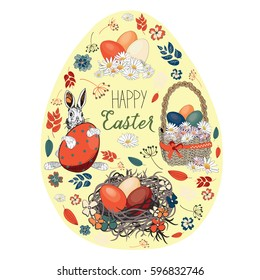 Beautiful Easter eggs in a basket and in the nest with easter bunny with various flowers in the shape of egg. Vector illustration on light yellow background. Happy Easter greeting card