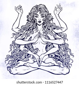 Beautiful Eastern many armed goddess girl in lotus position with long hair, six hands. Feminine magic diety with spiritual powers. Hinduism, wicca and Vedas inspiration. Vector isolated illustration.