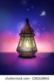Beautiful Egyptian Ramadan lantern glowing against colorful starry background with moon. Vector illustration of Ramadan Kareem greeting card with lantern.