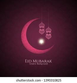 Beautiful Eid Mubarak festival greeting background vector