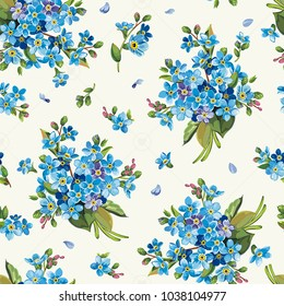 Beautiful elegance forget-me-not seamless pattern. Floral template for congratulation design, vector illustration