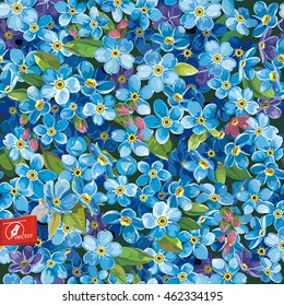 Beautiful Elegance Forget-me-not Seamless Pattern, eps8