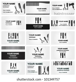 Beautiful elegant black and white business cards for hairdressers