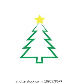 Beautiful and elegant Christmas tree. Bright wreath. Vector illustration of Christmas. Merry Chrismast and Happy New Year. Modern flat design.
