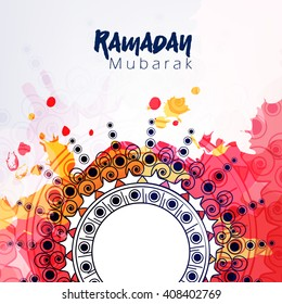 Beautiful and elegant floral decorated colorful texture background wallpaper design with stylish text for Islamic Festival Ramadan Kareem.