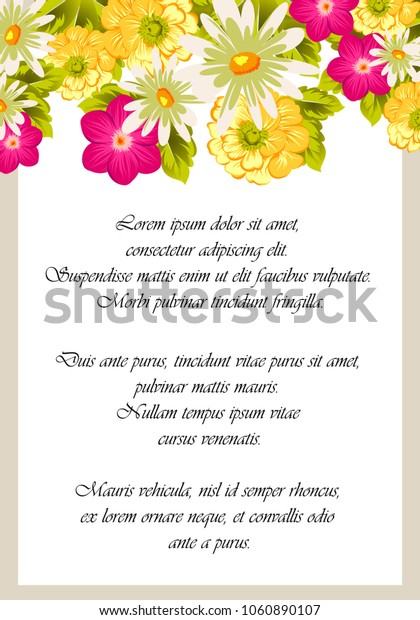 beautiful elegant frame of flowers. For your design of greeting cards, birthday cards and invitations, wedding, party and more. Vector illustration.