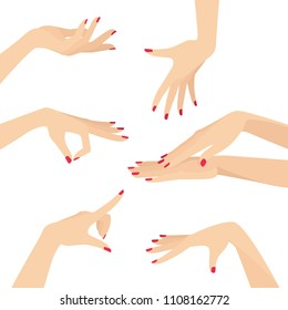 Beautiful Elegant Graceful Woman Hands With Red Nail Polish Design Set Vector Flat Illustration Isolated on White