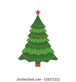 Beautiful elegant green Christmas tree. Bright garland. Vector illustration on a white background. Modern flat design.