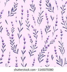 Beautiful and elegant lavender buds on the purple background. Vector seamless pattern with flowers. Lavender fabric design.