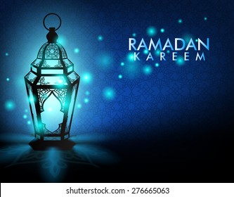 Beautiful Elegant Ramadan Kareem Lantern or Fanous With Lights in Night in Background Islamic Pattern for the Holy Month Occasion of fasting. Editable Vector Illustration