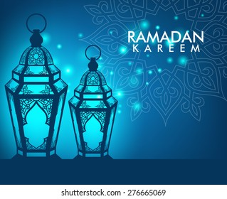 Beautiful Elegant Ramadan Kareem Lantern or Fanous With Pattern and Lights in Night Background for the Holy Month Occasion of fasting. Editable Vector Illustration