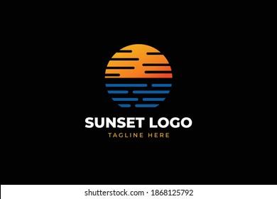 beautiful and elegant sunset logo